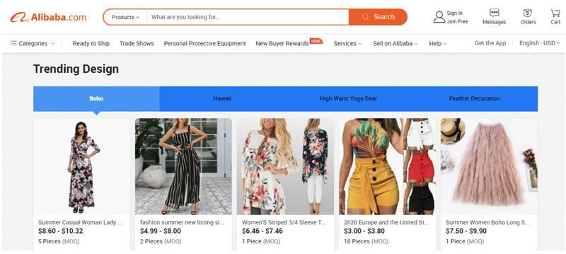 Alibaba với giao diện thuần tiếng Anh và giá thành sản phẩm rẻ